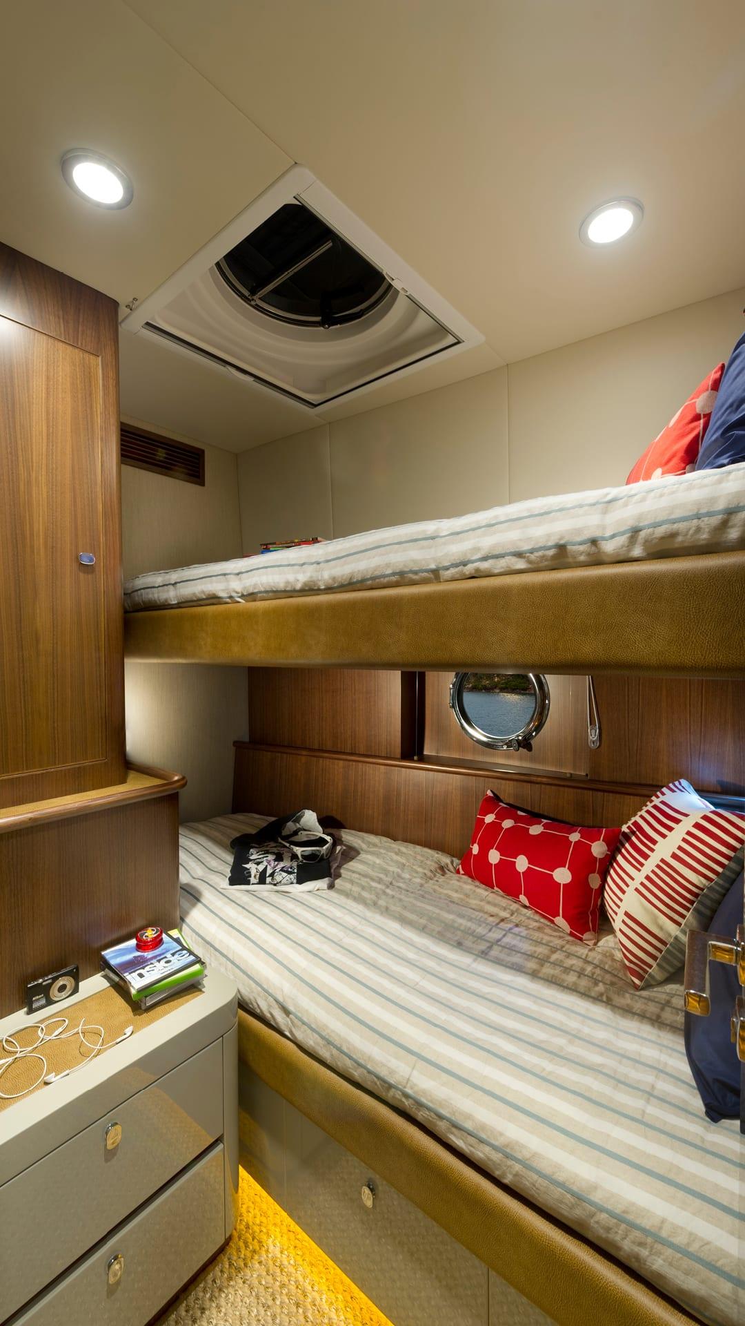 Belize 54 Daybridge Starboard Guest Stateroom – Satin Walnut Timber Finish