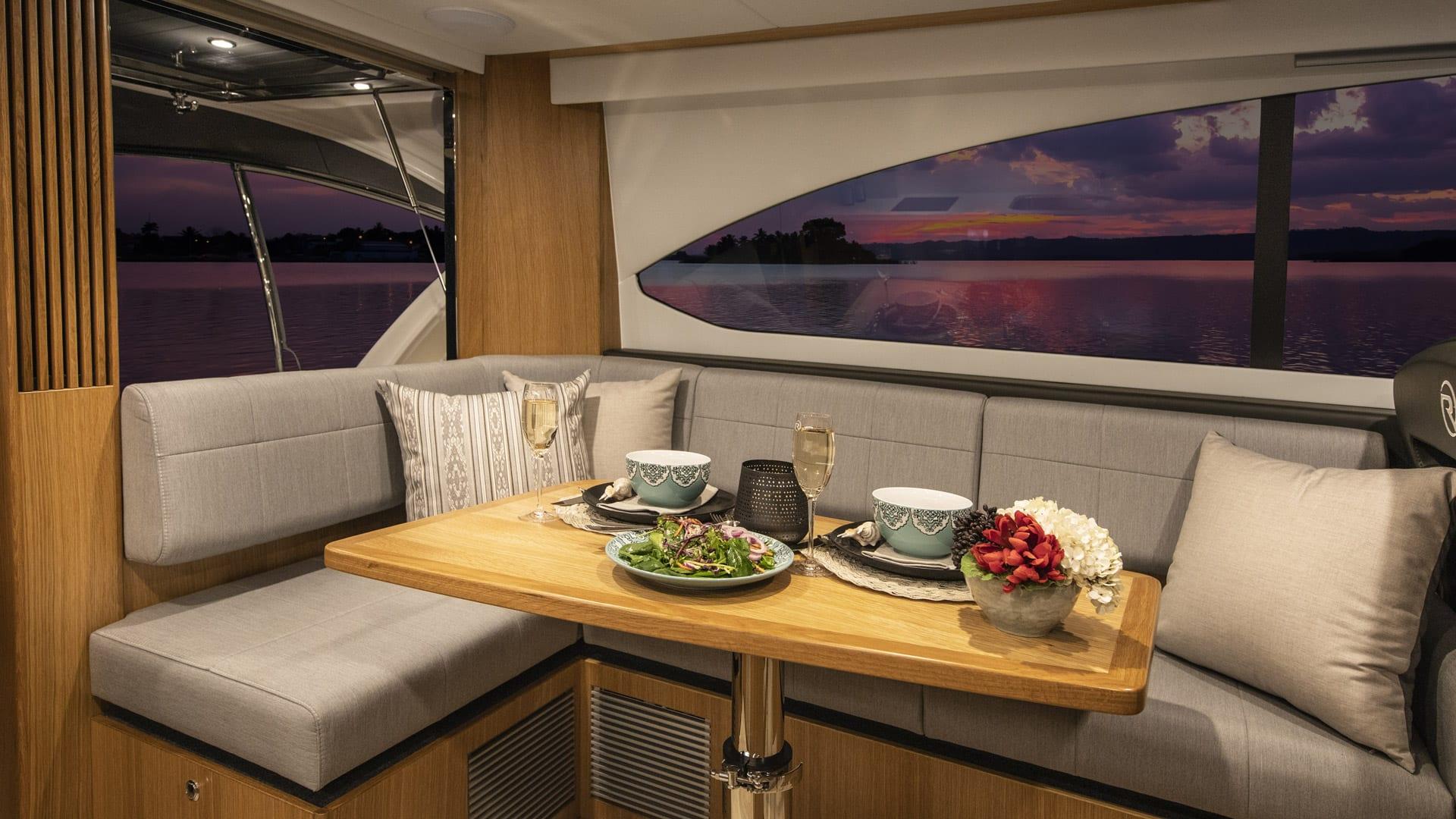 Riviera 39 Open Flybridge Dinette – Satin Oak Timber Finish 01