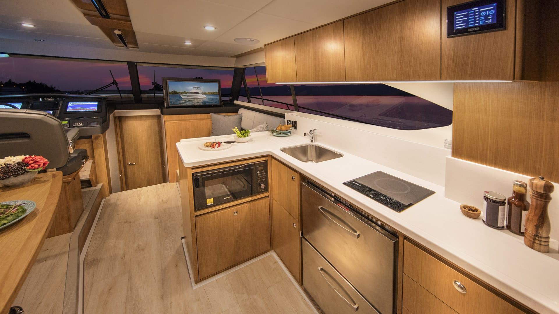 Riviera 39 Open Flybridge Galley – Satin Oak Timber Finish 01