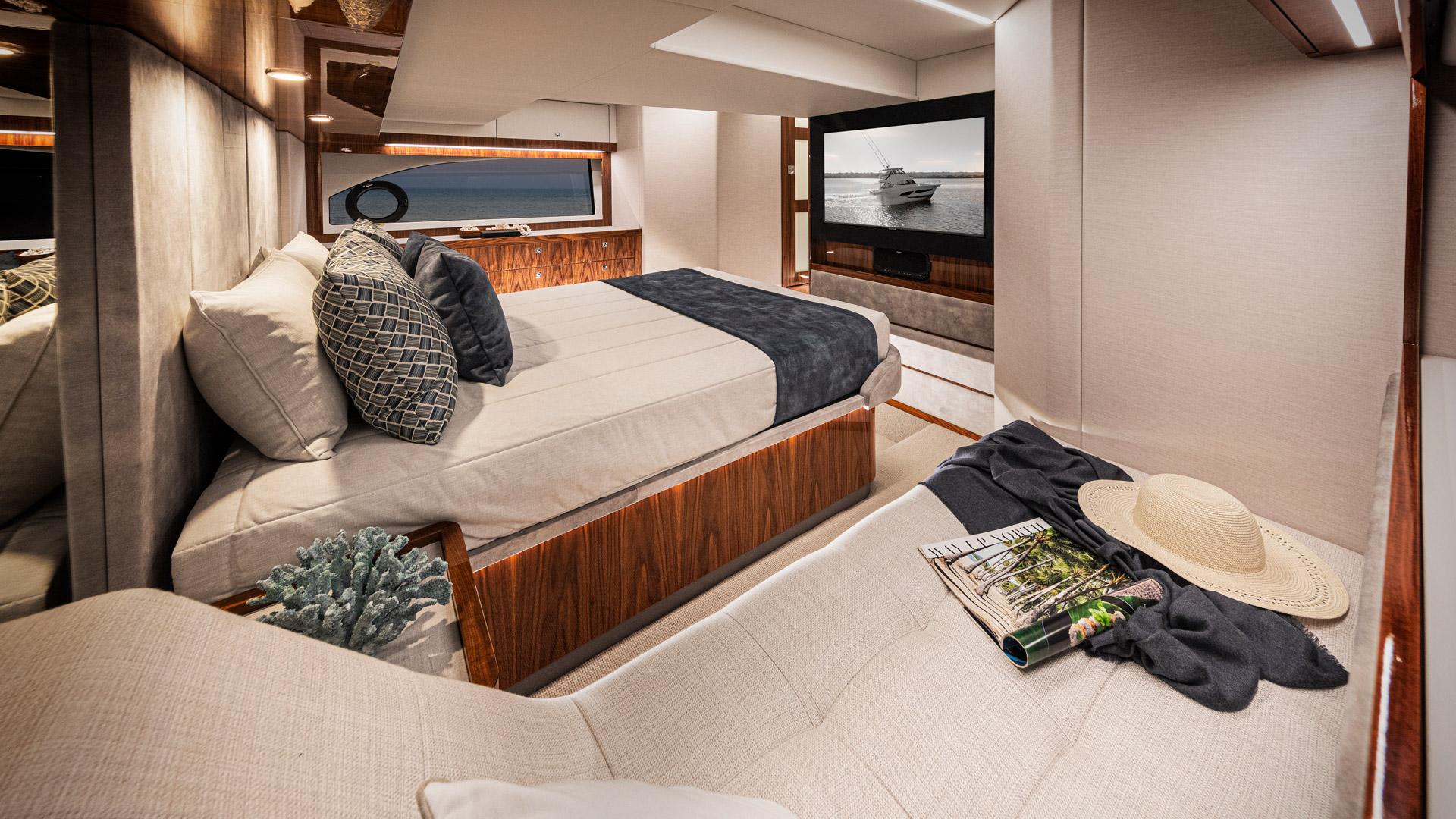 Riviera 50 Sports Motor Yacht Master Stateroom 02 – Gloss Walnut Timber Finish