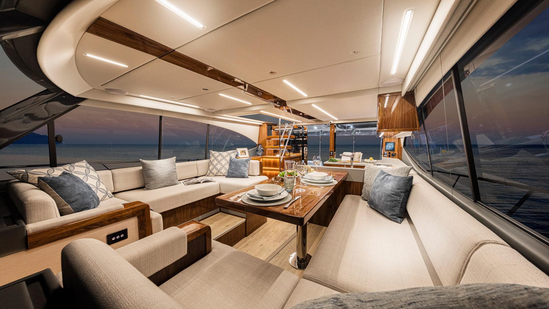 Riviera 50 Sports Motor Yacht Saloon 01 – Gloss Walnut Timber Finish