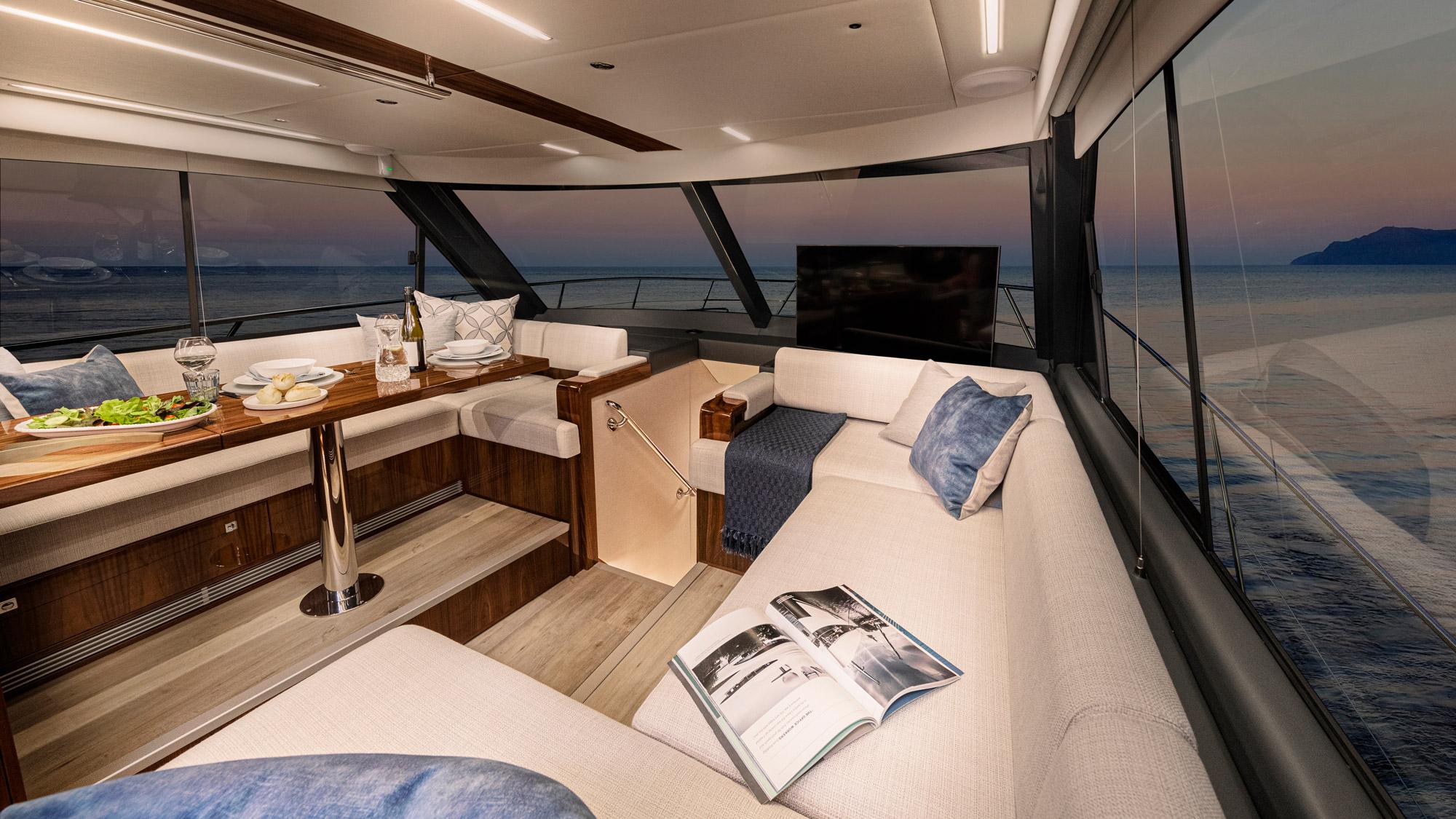 Riviera 50 Sports Motor Yacht Saloon 04 – Gloss Walnut Timber Finish