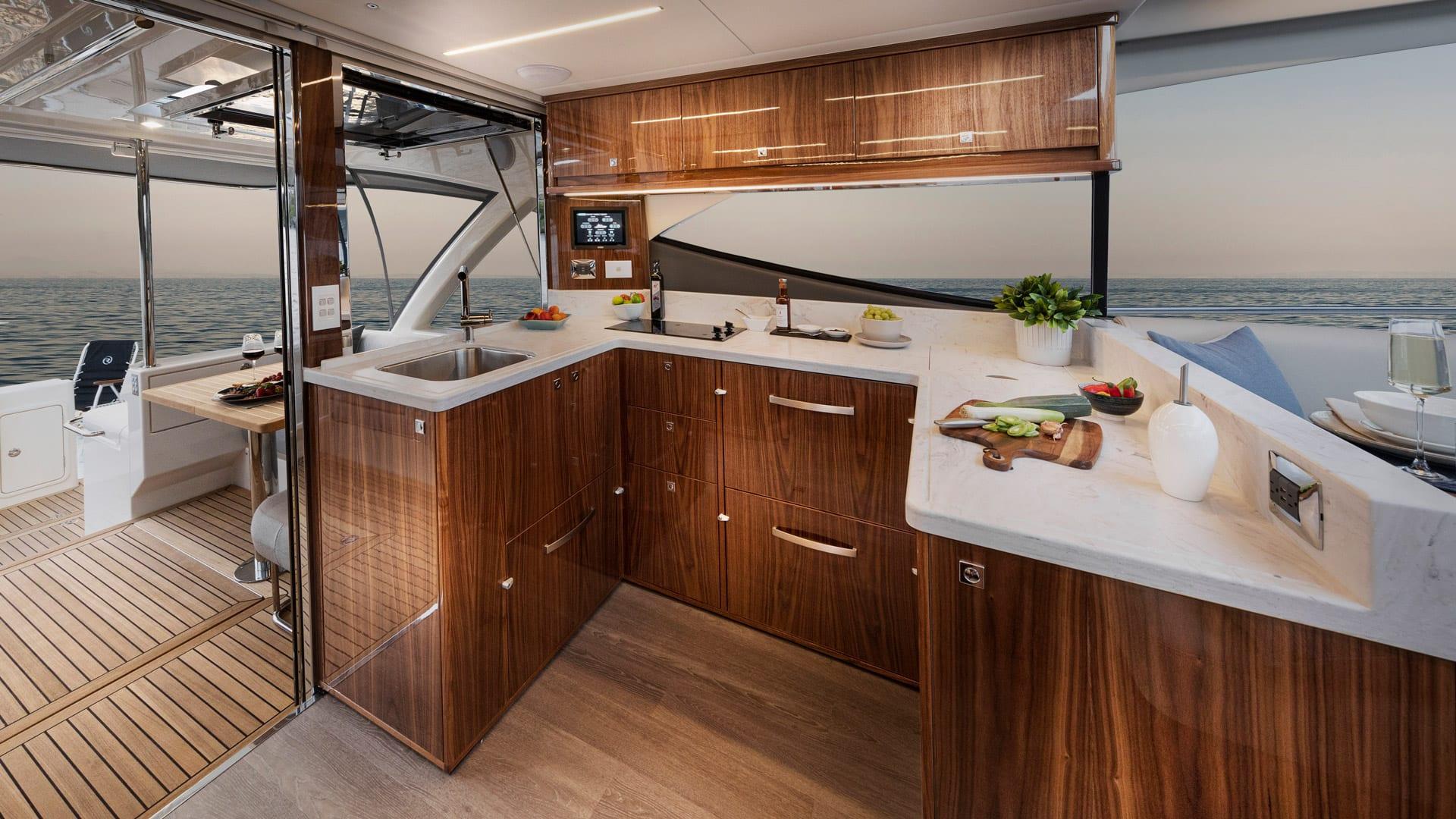 Riviera 505 SUV Galley 01 – Gloss Walnut Timber Finish