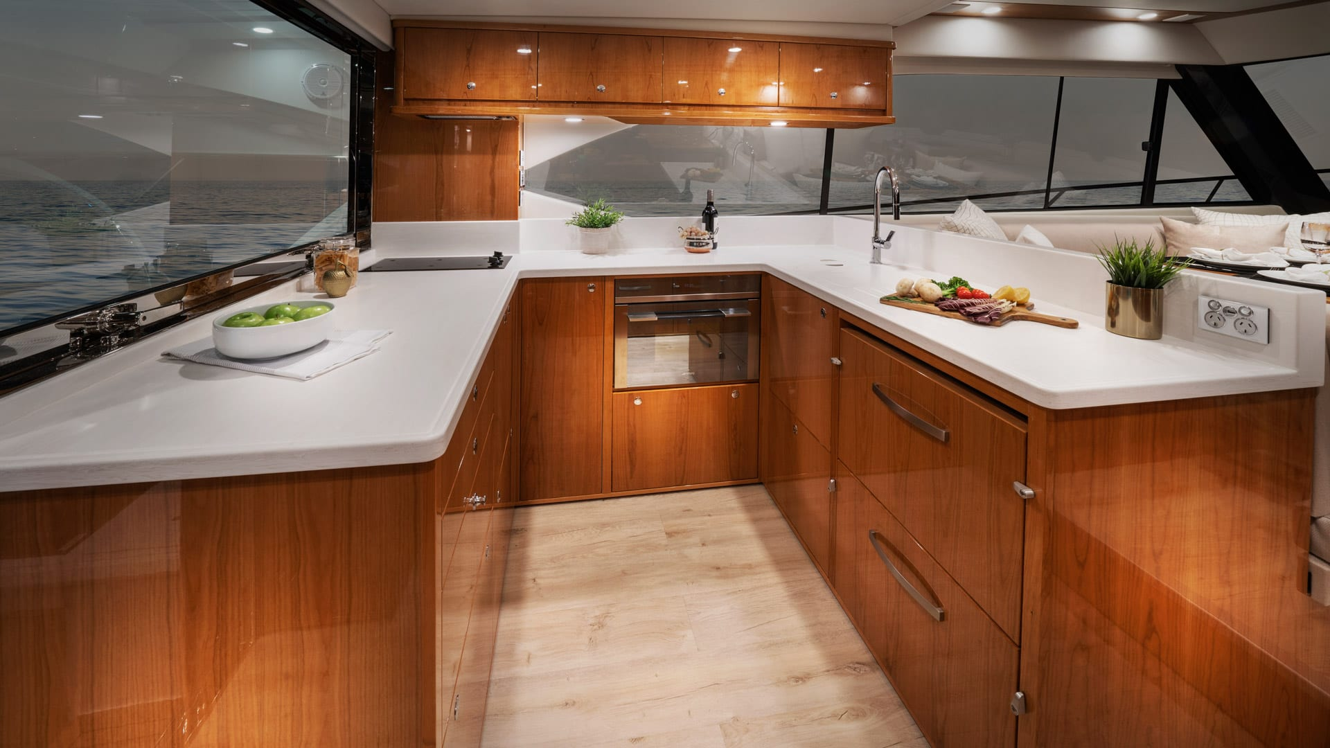 Riviera 54 Enclosed Flybridge Galley – Gloss Cherrywood Timber Finish 01