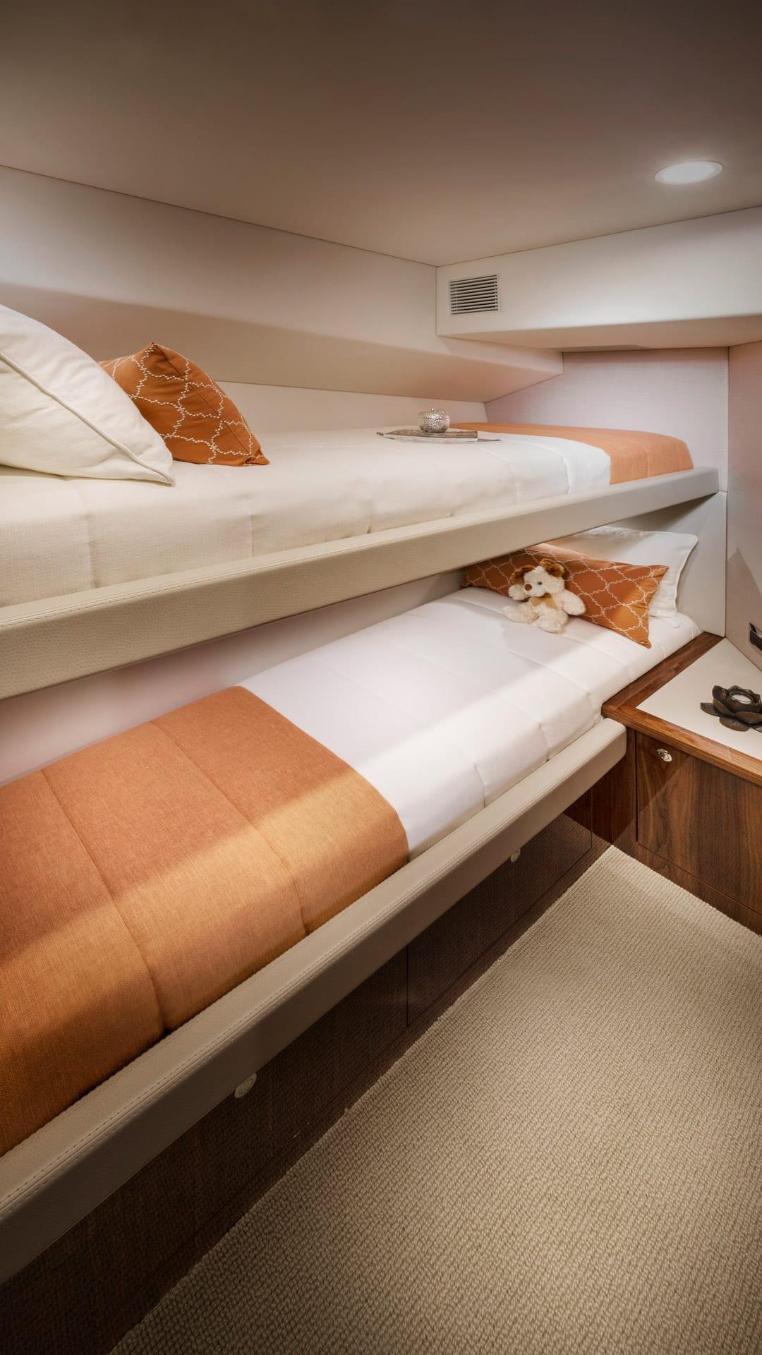 Riviera 54 Enclosed Flybridge Starboard Stateroom – Gloss Walnut Timber Finish 01