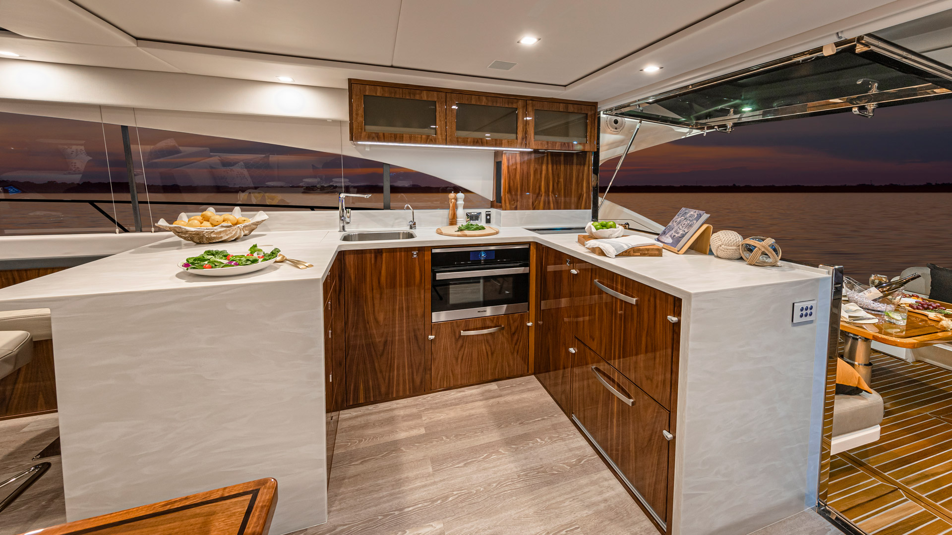 Riviera 5400 Sport Yacht Platinum Edition Galley – Gloss Walnut Timber Finish 01