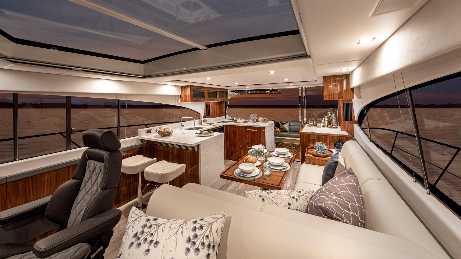 Riviera 5400 Sport Yacht Platinum Edition Saloon – Gloss Walnut Timber Finish 01