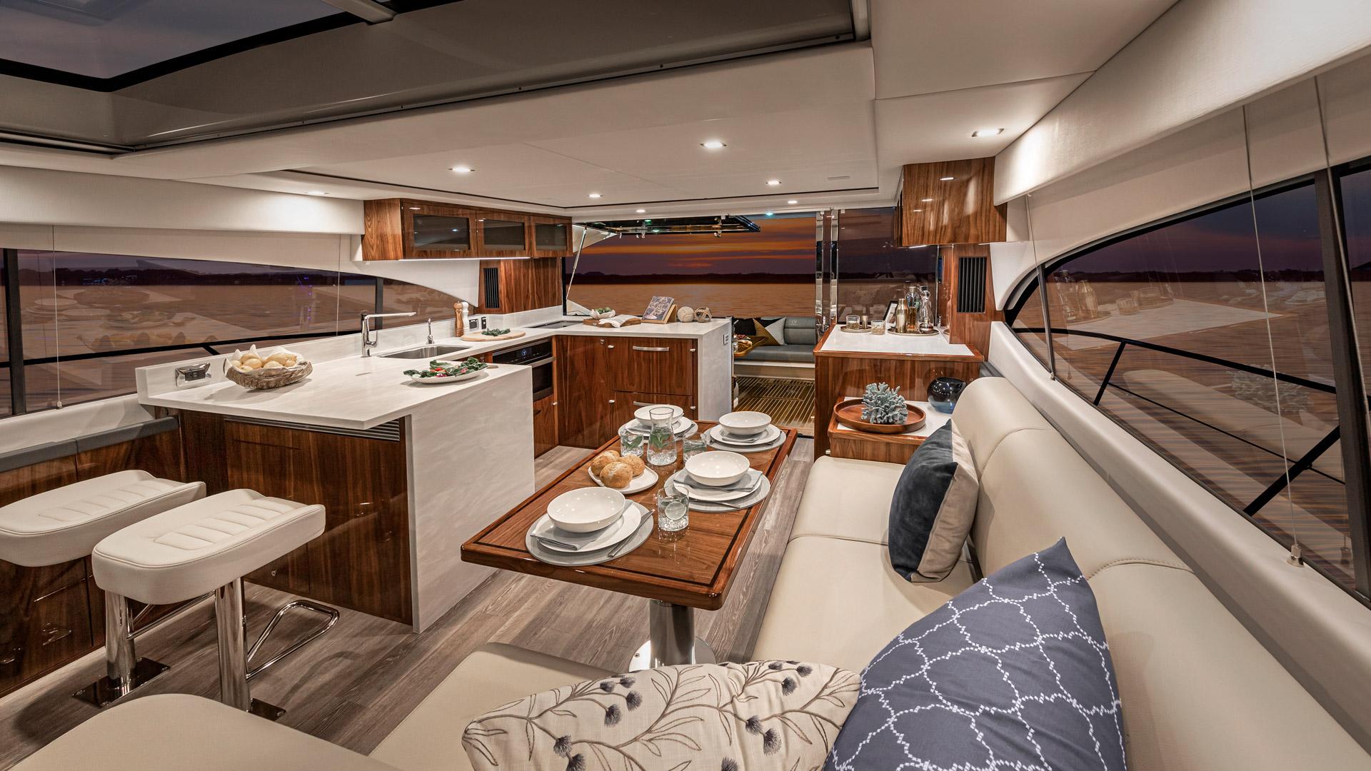 Riviera 5400 Sport Yacht Platinum Edition Saloon – Gloss Walnut Timber Finish 02