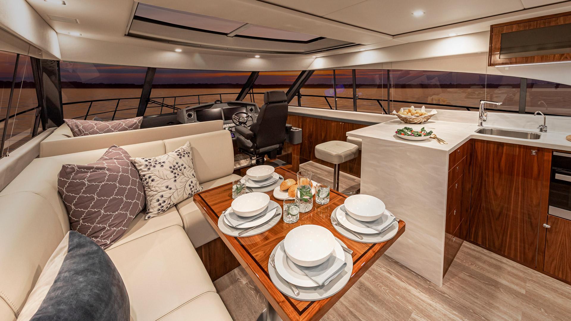 Riviera 5400 Sport Yacht Platinum Edition Saloon – Gloss Walnut Timber Finish 03