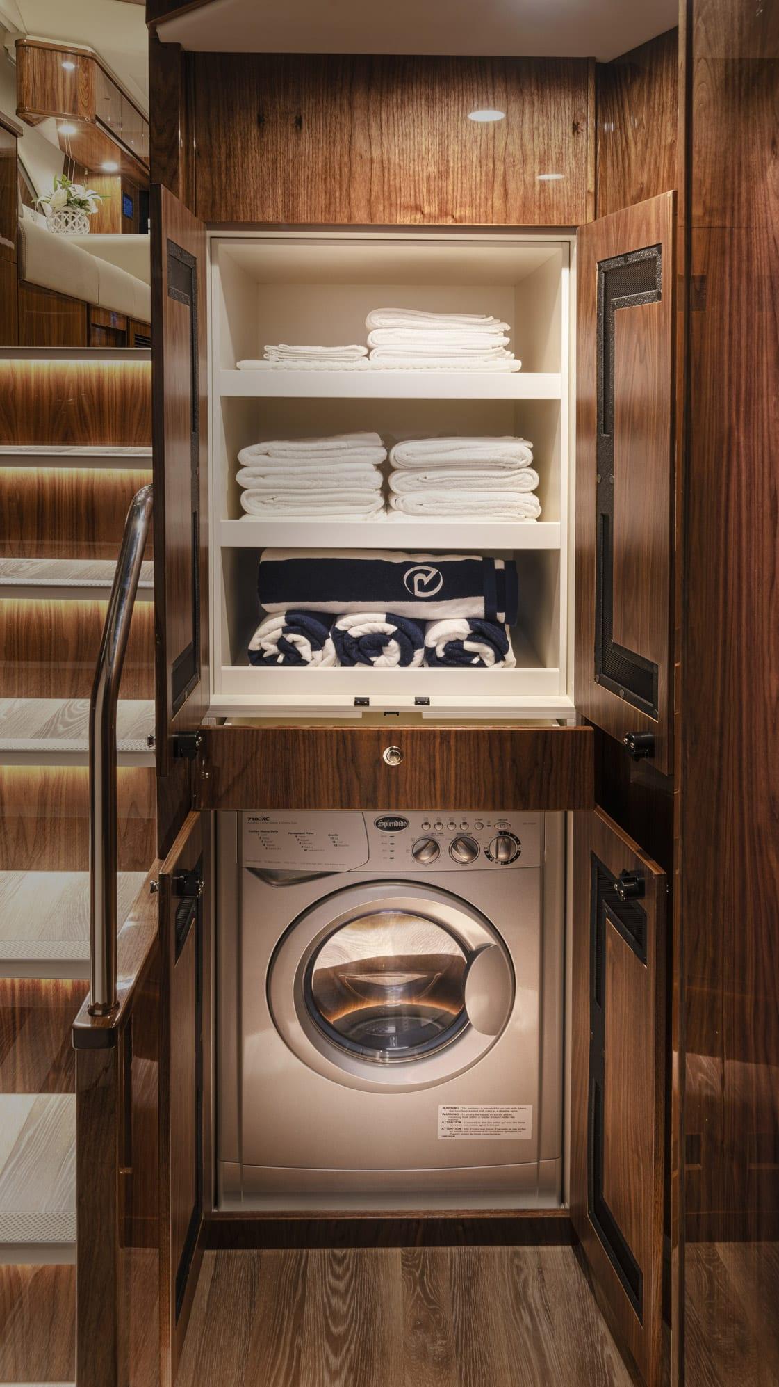 Riviera 545 SUV Laundry 01 – Gloss Walnut Timber Finish