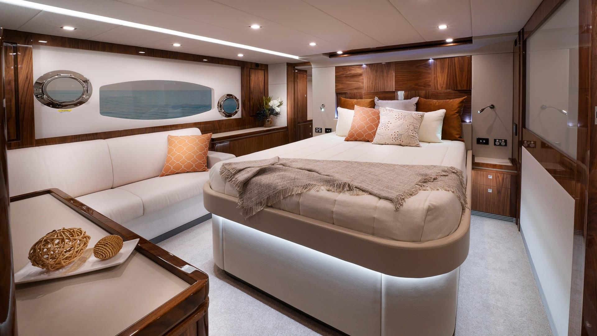 Riviera 6000 Sport Yacht Platinum Edition Master Stateroom 01 – Gloss Walnut Timber Finish