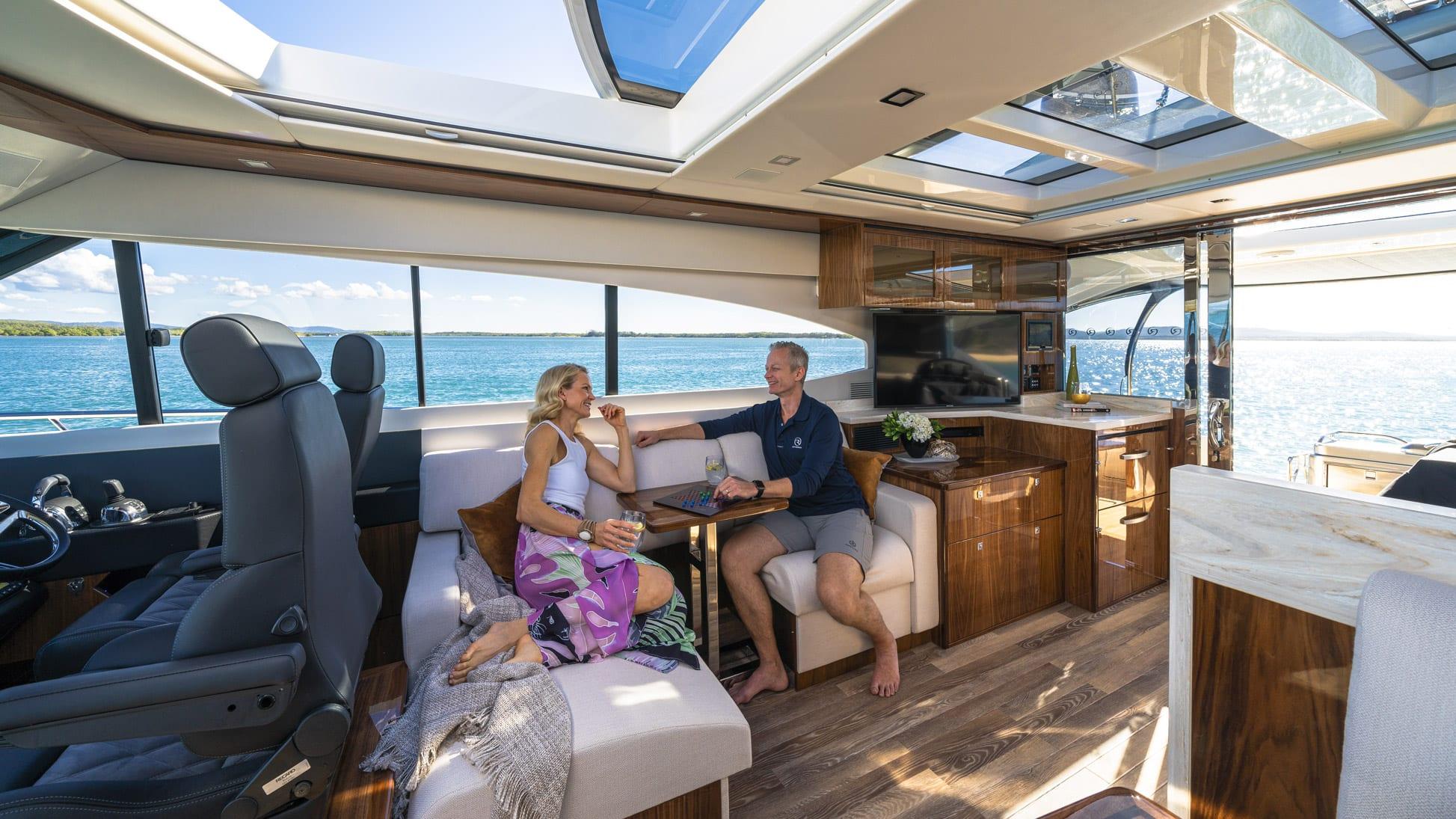 Riviera 6000 Sport Yacht Platinum Edition Lounge 02 – Gloss Walnut Timber Finish